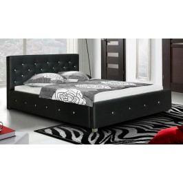 Čalouněná manželská postel s kamínky Swarowski a s možností výběru potahu typ IV 180 KN241