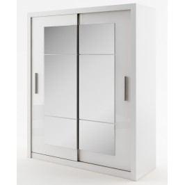 Šatní skříň s posuvnými dveřmi a zrcadlem v jednoduchém moderním provedení KN113