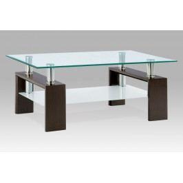 Konferenční stolek skleněný v dekoru ořech a mléčnou poličkou AF-1024 WAL