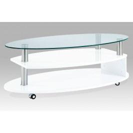 Konferenční stolek pojízdný 110 x 60 cm bílý lesk AHG-059 WT
