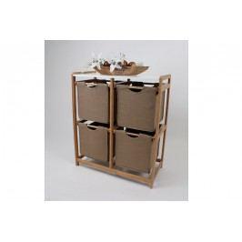 Regál bambusový 4-šuplíky (šuplíky v hnědé barvě) DR-016B AKCE