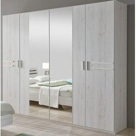 Šatní skříň se zrcadlem dub bílý KN131