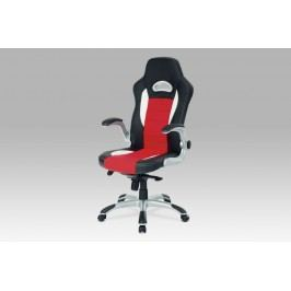 kanc. židle, PU černo-červená, plyn.píst, synchronní mechanismus, odklápěcí područky KA-E240B RED