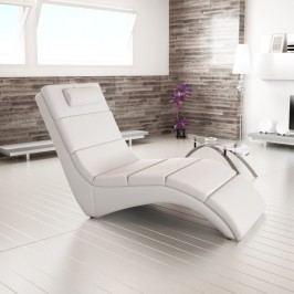Relaxační křeslo designové ekokůže bílá LONG