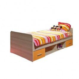 Postel s dvěma zásuvkami, dub sonoma / oranžová, EMIO Typ 04