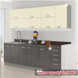 Kuchyňská linka DOPRA 260 cm šedá vysoký lesk/krémová vysoký lesk