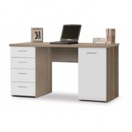 Praktický PC stůl v moderním dekoru dubu sonoma v kombinaci s bílou barvou EUSTACH