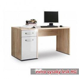PC stůl v dekoru dub sonoma v kombinaci s bílým leskem TEODOZ