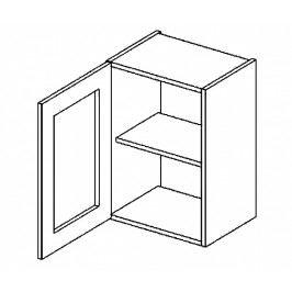 W40WL h. vitrína 1-dvéřová PREMIUM olše čiré sklo