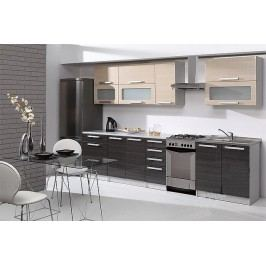 Kuchyňská linka MERCURY Zebrano 260 cm grafit/béžová lesk
