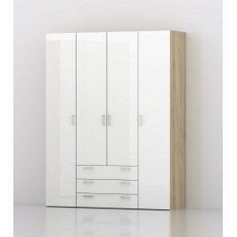 Skříň šatní sonoma/bílý lesk 154 cm F278