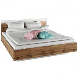 Manželská postel 160x200 v dekoru dub Wotan a bílá TK3132