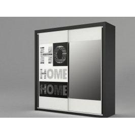 Šatní skříň s posuvnými dveřmi černá, malované sklo HOME