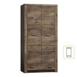 Masivní vysoká šatní skříň z tmavého jasanu s výraznou reliéfní kresbou typ 01 TK210