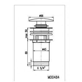 Výpusť umyvadlová CLICK-CLAK 5/4 MD0484SM stará mosaz