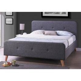 Čalouněná manželská postel v šedé barvě o rozměru 160 x 200 cm KN234
