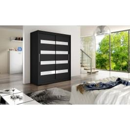 Designová šatní skříň s posuvnými dveřmi v barevném provedení černá typ IV KN117