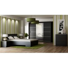 Ložnice VISTA černá (postel 160, skříň, komoda, 2 noční stolky)