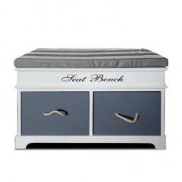 Lavice s polštářem a 2 zásuvkami v jednoduchém moderním provedení šedá SEAT BENCH 2 NEW