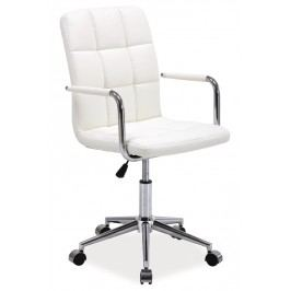 Čalouněná kancelářská židle v bílé barvě typ Q022 KN101