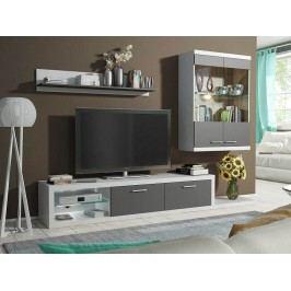 Obývací stěna šedo - bílá, s LED osvětlením a skleněnými poličkami DOLORES