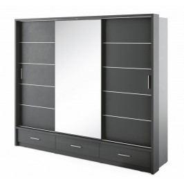 Šatní skříň ARTI černá zrcadlo