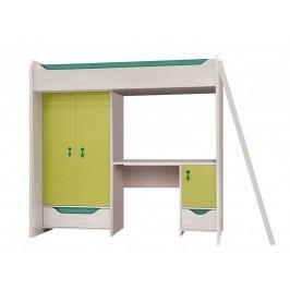Patrová postel HIHOT ZES3D2S dub světlý belluno/zelený uni hrášek s matrací