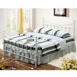 Bílá kovová postel s lamelovým roštem 90x200cm TK053