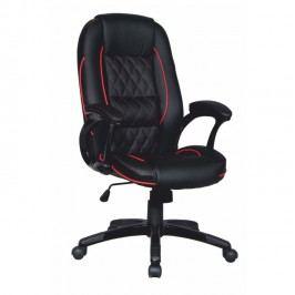 Kancelářská židle v provedení ekokůže s černočervenými detaily TK093