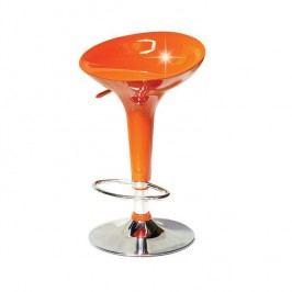 Barová židle v provedení chrom a zářivě oranžový plast TK195