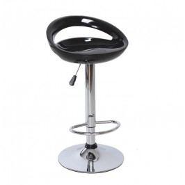 Leskle černá barová židle s kruhově tvarovaným sedákem TK197