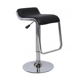Barová židle v černé ekokůži s nápaditým řešením opěrky nohou TK227