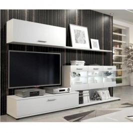 Nadčasová bílá obývací stěna s osvětlenou vitrínou a šuplíky TK208