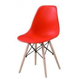 Moderní jídelní židle v ergonomickém tvaru v červené barvě KN002