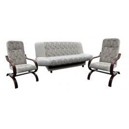 Rozkládací sedací souprava v dekoru ořech v kombinaci s šedou barvou se vzorem 3+1+1 F1065