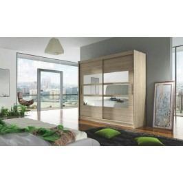 Šatní skříň s posuvnými dveřmi se zrcadlem dub sonoma KN004