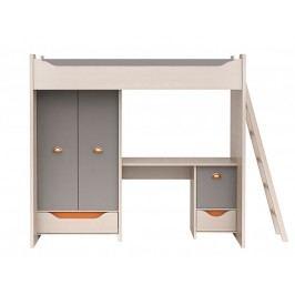 Patrová postel RUPI ZES3D2S dub/šedá/oranžová s matrací