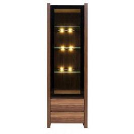 Vitrína VENOM REG1W2S ořech merano/černá s LED osvětlením