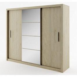 Šatní skříň s posuvnými dveřmi se zrcadlem šířka 250 cm dub san remo KN008