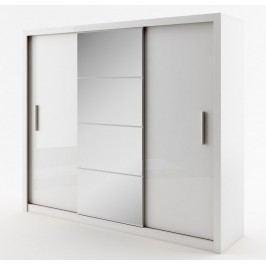 Šatní skříň s posuvnými dveřmi se zrcadlem šířka 250 cm bílá KN008