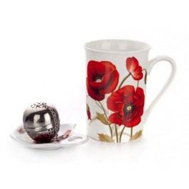 Sada na čaj keramická RED POPPY, 3 ks, OK