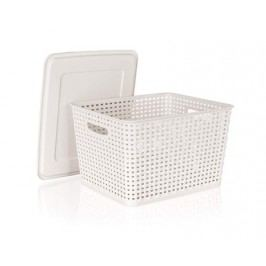 Úložný box rattan 5 L s víkem, barva: creamy, vel. 26,1*20,5*10,6 cm