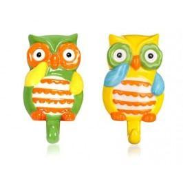 Sada keramických háčků OWL 10,5 x 6,6 x 2,7 cm, 2 ks