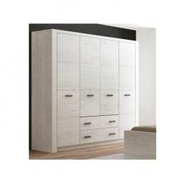 Masivní široká šatní skříň z bílého jasanu s výraznou reliéfní kresbou a šuplíky typ 18 TK210