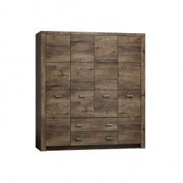Masivní široká šatní skříň z tmavého jasanu s výraznou reliéfní kresbou a šuplíky typ 18 TK210