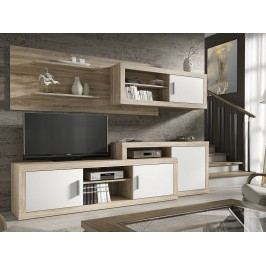 Obývací stěna OPALO dub sonoma/bílá
