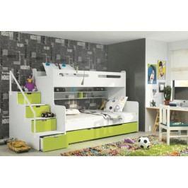 Dětská patrová postel zelené barvy F1022