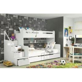 Dětská patrová postel bílé barvy F1022