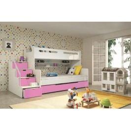 Dětská patrová postel růžové barvy F1022