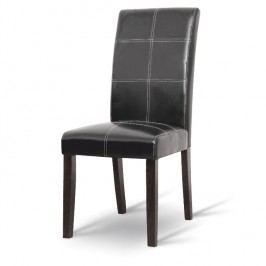 Jídelní židle tmavý ořech/ekokůže černá TK017
